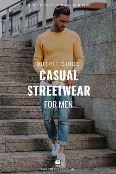 Erfahre welche Teile dazu passen! Casual Outfit für Männer. Lässiger Urban Look mit Jeanshose, T-Shirt, Rundhalspullover und Sneaker oder Sportschuhe. Männeroutfit für die Freizeit in fröhlicher Farbkombination, die Lust macht auf den Sommer! Outfits für Männer mit passenden Teilen bei Favorite Styles. #favoritestyles #mode #fashion #outfit #männer #herren #style #stil #männermode #herrenmode #mensoutfit #mensfashion #ideen #inspiration #streetstyle #lässig #pullover #urban #gelb #jeans #blau