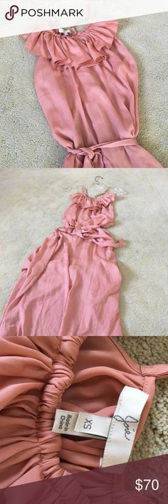 Joie maxi dress Beautiful Joie maxi dress with ruffle neckline and race back.  This is a exquisite color salmon color flow or tie waist.  Very pretty Joie Dresses Maxi