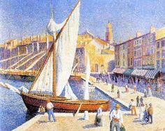 le port de St Tropez by Maximilien Luce (French 1858-1941)