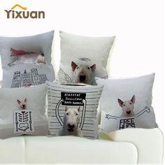Creative Animals Throw Pillows Case Home Decorative Linen Cotton Pet Dog Bull Terrier Cushion Cover for Sofa Car