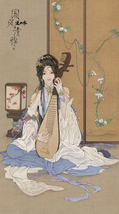 """changan-moon: """"逆水寒 """" Art from the Chinese Wuxia-themed MMORPG Treacherous Waters/Ni Shui Han. Geisha Kunst, Geisha Art, Chinese Painting, Chinese Art, Anime Art Girl, Manga Art, Character Inspiration, Character Art, Chinese Drawings"""
