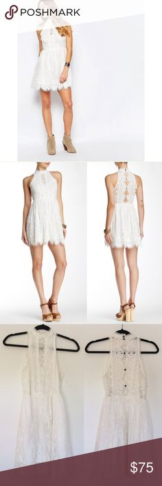 """Free People Verushka Mini Dress Perfect for the holidays or any special occasion! Features a full skirt, a cool halter neckline and plenty of eyelash lace. Halter neck with button closure. In excellent condition!  Approx. 33"""" length Free People Dresses Mini"""