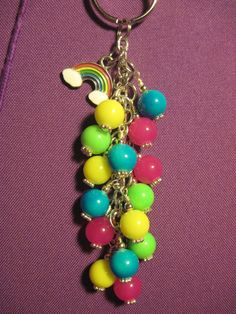 Pink Blue Green Yellow Glass Bead Purse Charm / by FoxysFunDangles