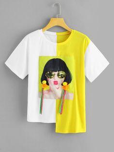08efbe2f1 Tee-shirt imprimé figure avec décoration côtelé-French SheIn(Sheinside)