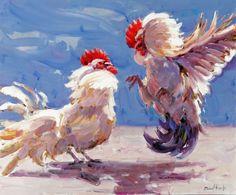 """Lote: 35015026, PARDO, Manuel (Daimiel, Ciudad Real, 1955).  """"Pelea de gallos"""".  Óleo sobre tabla.  Firmado en el ángulo inferior derecho.  Medidas: 50 x 60 cm."""