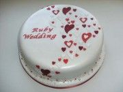 Hearts Ruby Wedding Anniversary Cake