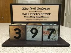 LDS Missionary Countdown Blocks. Personalized with your missionary's information. Such a fun way to track the time.  Different colors available for Elders and Sisters. Please visit my Etsy shop to order!  $25 per set
