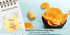 National Potato Chip Day, Date Slice, Chip Company, National Day Calendar, Chips Recipe, National Holidays, Group Meals, Chocolate Dipped, Potato Chips