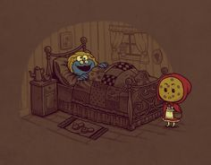 Cookie monster as the Big Bad Wolf, and a cookie as Little Red Riding Hood. the better to eat you with my dear Geeks, Funny Illustration, Icon Illustrations, Humor Grafico, Red Riding Hood, Little Red, Pop Culture, Fairy Tales, Geek Stuff
