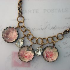 Rhode Island Roses Charm Necklace by CharmedMemory for $44.50
