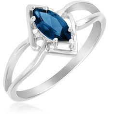$17.99 - 1.40 Carat London Blue Marquis Sterling Silver Intertwined Diamond Design Ring