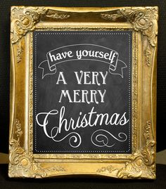 Christmas Chalkboard Sign with Ornate Gold Frame