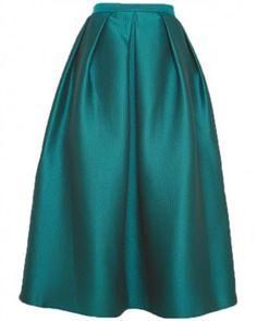 Tibi Simona Jacquard Full Skirt in Emerald Emerald jacquard full pleated midi skirt with A-line silhouette