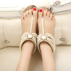 pearl sandles | Sandals-Shoes-Summer-Sandals-Female-Flat-Heel-Beach-Shoe-Flip-Pearl ...