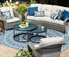 Wilson & Fisher Lakewood Curved All Weather Wicker Cushioned Patio Sofa - Big Lots Resin Patio Furniture, Patio Furniture Cushions, Diy Garden Furniture, Outdoor Furniture Sets, Dining Furniture, French Furniture, Rustic Furniture, Indoor Outdoor Area Rugs, Outdoor Seating
