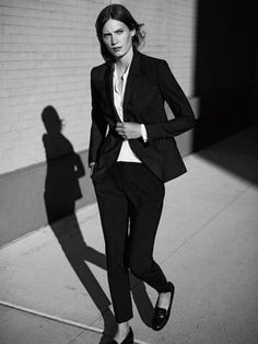 Classic Menswear Fashion Ideas For Women - black suit + black ankle pants + loafers