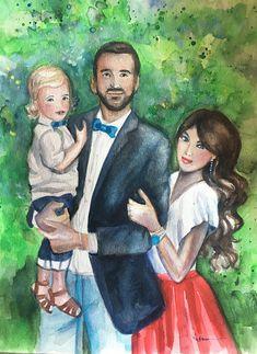 Family Portraits.Custom Portraits. Watercolor Paintings.