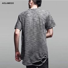 Aolamegs T shirt Men Ripped Holes T-shirt Hip Hop Punk Style Destroyed Mens Tops Tee 2017 Kanye West Clothing Fashion Streetwear #Affiliate