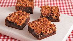 Two favorites - pecan pie and fudge brownies come together in this dessert that's made with Betty Crocker® brownie mix.