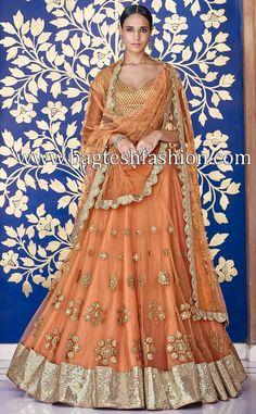 Attractive Salmon Net Lehenga Choli #lehengas #womenswear #womensfashion #dresses #bridalfashion #bridal #weddingdress #weddings #weddingstyle #shopping #onlineshopping