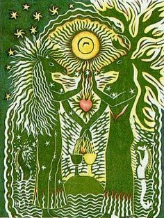 Two of Cups ~ Attraction from The Greenwood Tarot (Image: Chesca Potter)