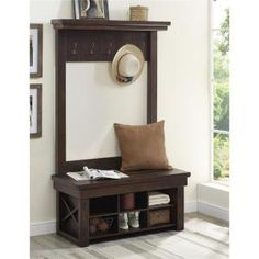 Altra Furniture Wildwood Wood Veneer Entryway Hall Tree with Bench in Mahogany 5045196COM at The Home Depot - Mobile