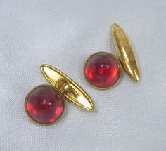 Vintage Cuff Links Art Deco Red Domed Plastic by ReVampingVintage