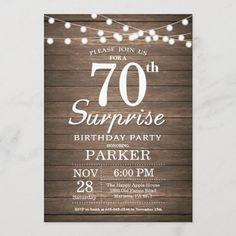 Rustic Surprise 70th Birthday Invitation Wood 13th Birthday Invitations, Sweet 16 Invitations, 40th Birthday Parties, 20th Birthday, Custom Invitations, Surprise Birthday Gifts, Wood Invitation, Rustic, Gender