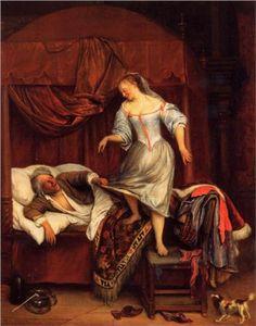 """Couple in a Bedroom"" - Jan Steen (c. 1670).  Genre painting.  Through wikipaintings.org."