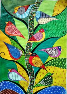 40 Simple And Easy Gond Painting Designs For Art Lovers - Free JupiterYou can find Tribal art and more on our Simple And Easy Gond P. Pichwai Paintings, Indian Art Paintings, Abstract Paintings, Arte Tribal, Tribal Art, Kalamkari Painting, Folk Art Flowers, Dot Art Painting, Painting Tips