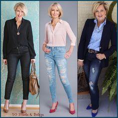 Uma calça jeans com bom corte e caimento é item de primeira necessidade. Já reparou como ela pode nos deixar sexy e confiantes? Por isso, você precisa ter A calça jeans, mesmo que pague um pouco mais caro por ela. As cores escuras e o corte reto disfarçam as gordurinhas. Mas se você está magra, aposte no skinny. Use para jantar fora, ir ao cinema com seu namorado no fim de semana, para ir ao aniversário de uma amiga. Fotos: Pinterest, Daily Mail, blog 50 is not old