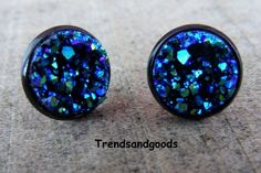 Druzy Drusy Fake Plugs Stud Earrings Blue Moon Black Faux Plugs FP 071 by Trendsandgoods on Etsy