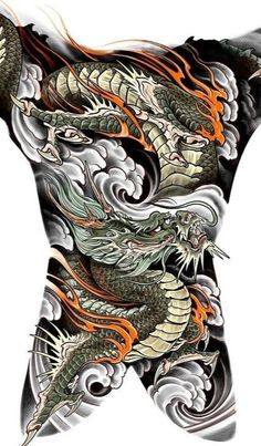 Japanese Dragon, Japanese Art, Chest And Back Tattoo, Japanese Tattoo Designs, Tattoo Japanese, Oriental Design, Irezumi, Lunges, Tatting