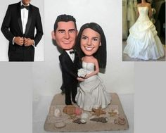 Buy Beach Themed  wedding cake topper Custom wedding cake toppers head to toe personalized made from photo-1614 by honeymeng. Explore more products on http://honeymeng.etsy.com