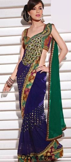 Peacock lehnga set, resham and sequins on chiffon dupatta