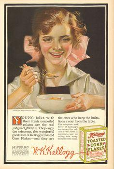 Kelloggs Corn Flakes Cereal Ad by J C Leyendecker 1916 Original Vintage Ad Vintage Ads, Vintage Posters, Vintage Food, Retro Ads, Vintage Ephemera, Vintage Images, Jc Leyendecker, Norman Rockwell Paintings, Old Advertisements