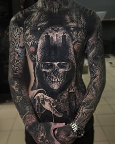 What does blackout tattoo mean? We have blackout tattoo ideas, designs, symbolism and we explain the meaning behind the tattoo. Scary Tattoos, Dope Tattoos, Badass Tattoos, Skull Tattoos, Body Art Tattoos, Sleeve Tattoos, Chest Tattoo Skull, Zombie Tattoos, Full Body Tattoo