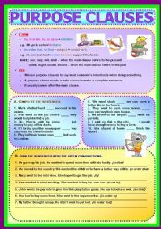 English worksheet: Conjunctions - Purpose Clauses