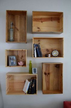 10+ Romantic Wooden Crates On Wall Photos -  -  #hangingwoodencratesonwall #howtofixwoodencratesonwall #wallmountedwoodencrates #woodencratesforwalldecor #woodencrateshungonwall #woodencratesonwall #woodencrateswallshelves #woodencrateswallstorage #woodencrateswallpaper #woodencrateswalmart Wooden Crates On Wall, Diy Wooden Shelves, Wooden Diy, Wooden Boxes, Wine Box Shelves, Wine Boxes, Pipe Shelves, Cigar Boxes, Room Shelves