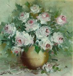 """Trandafiri albi, vas de lut, fundal cu vernil. Este un """"ceva"""" curat, decent și cumințel. Tablou clasic în aspect și în orice interpretare posibilă, bun pentru un cadou cu care nu vrem să dăm greș 😏 Orice, Flowers, Plants, Painting, Art, Art Background, Painting Art, Kunst, Paintings"""
