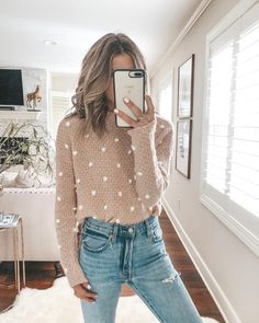 nude sweater with white polka dots perfect for a casual day holiday shopping. - nude sweater with white polka dots perfect for a casual day holiday shopping. Visit Daily Dress Me - Sweater And Jeans Outfit, Sweaters And Jeans, Loose Sweater, Sweater Set, Pom Pom Sweater, Beige Sweater, Fashion 2018, Fashion Week, Love Fashion