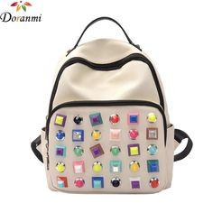 18.99$  Buy now - DORANMI Colorful Rivet Women Backpacks 2017 Fashion School Supplies Nylon Schoolbags For Girls Brand Designed Shcool Bag SJB051  #buychinaproducts