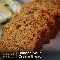 5 stars | 2,907 reviews | ready in 1 hour, 10 minutes | Banana Sour Cream Bread | Repin for an easy quick bread. http://allrecipes.com/video/819/banana-sour-cream-bread/detail.aspx?lnkid=7171