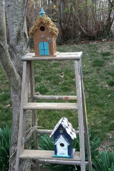 Birdhouses on ladder for outdoor garden area, plants added once weather permits.