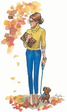 illustration by inslee Art Hipster, Fun Fall Activities, Calendar Girls, October Calendar, Art Watercolor, Dachshund Love, Daschund, Illustration Sketches, Fashion Sketches
