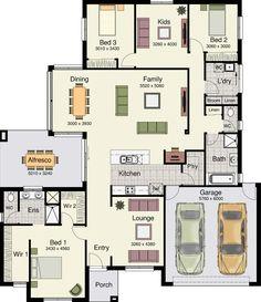 Small 3 bedrooms & 2 baths - McRae Display Kearneys Spring - Hotondo Homes. Switch bathroom and laundry room. Dream House Plans, Modern House Plans, Modern House Design, House Floor Plans, New Home Designs, Home Design Plans, Plan Design, Hotondo Homes, Modular Floor Plans