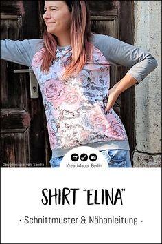 "Neues Schnittmuster: Shirt ""Elina"" - Kreativlabor Berlin Raglan Shirts, Pullover, Blouse, Tops, Fashion, Shell Tops, Kleding, Blouse Band, Moda"