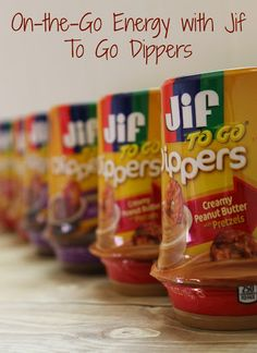 On-the-Go Energy is Easy with Jif To Go Dippers - Creamy Peanut Butter and Chocolate Silk, both come with pretzels to dip. Love these portable snacks. #MC #GetGoing (sponsored)