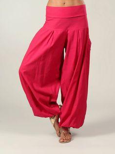 Pantalon sarouel large en coton avec poches Aller Simplement PA1013 Rose100% CotonS-M (36-38),L-XL (40-42)