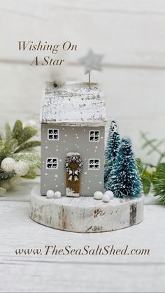 Snow Covered Christmas Trees, Driftwood Art, Snowball, Little Christmas, Little Houses, Silver Stars, Home Art, Snow Globes, House Warming